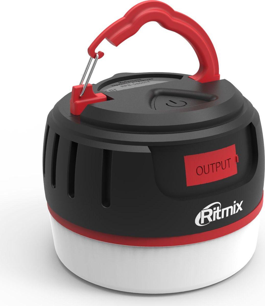 Ritmix RPB-5800LT, Black Red внешний аккумулятор (5800 мАч)15119243(Travel) Power bank Li-Ion, ёмкость 5 800мАч выход USB 5В 2,1А, IP65, магнит, лампа 4W 16 LED (4 режима), световой индикатор заряда, с подвесом