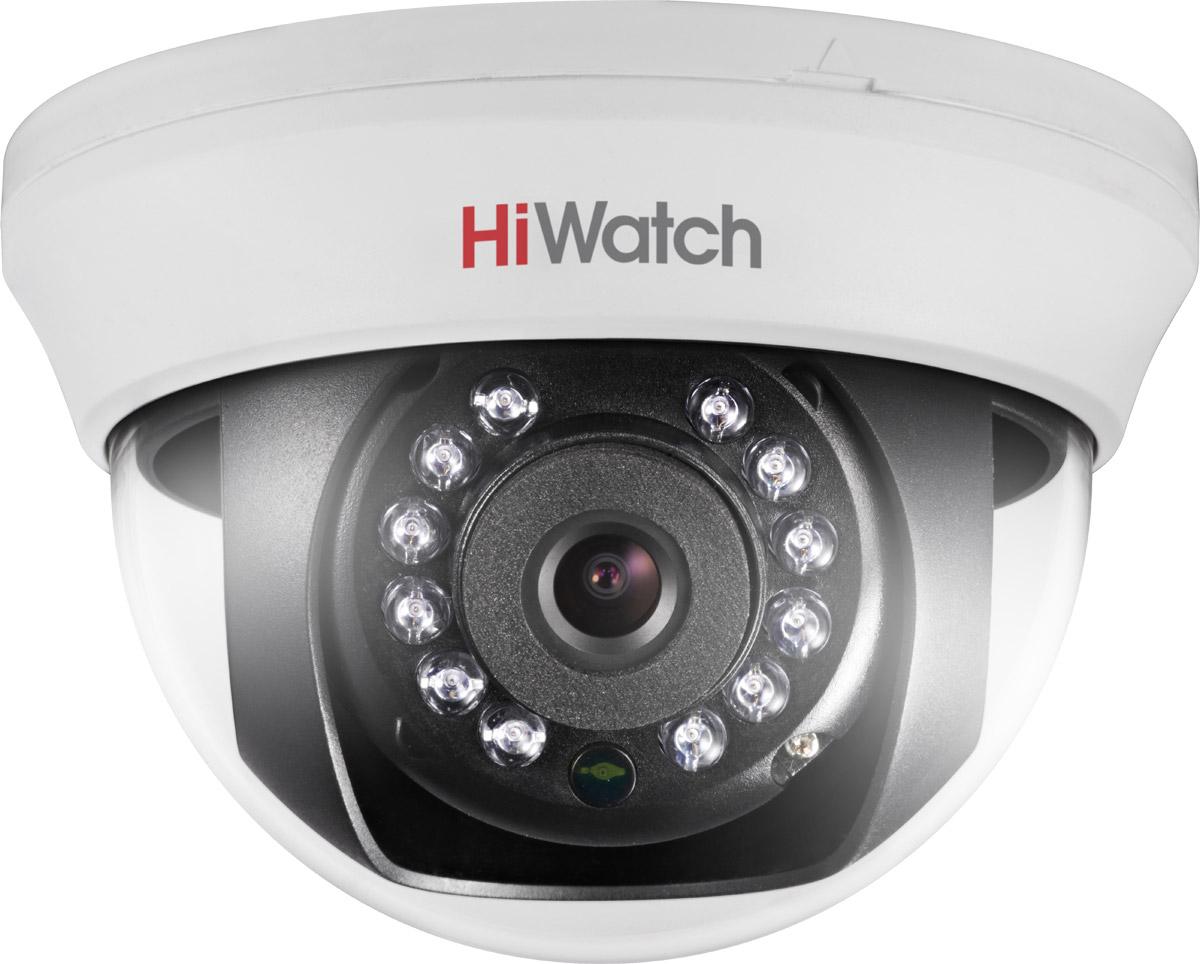 Hiwatch DS-T201 камера видеонаблюдения16000007802622 Мп внутренняя купольная HD-TVI камера с ИК-подсветкой до 20 м1/2.7 CMOS матрица; объектив 3.6 мм; угол обзора 82.2°; механический ИК-фильтр; 0.01 Лк@F1.2; DNR; Smart ИК; видеовыход: 1 х HD-TVI; -20°С до +45°С; 12В DC±15%, 4 Вт макс.