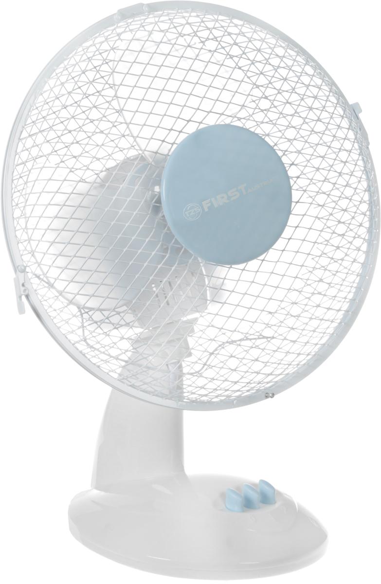 First FA-5550, White Blue вентилятор настольныйFA-5550-BUНастольный вентилятор First FA-5550 - подходящий вариант для использования в квартире. Модель занимает немного места и способна создать комфортные условия. Вентилятор имеет два режима обдува и функцию наклона, что позволяет направить поток воздуха в нужном направлении. В процессе работы корпус вращается вокруг своей оси на 90 градусов, что позволяет охладить большую площадь.