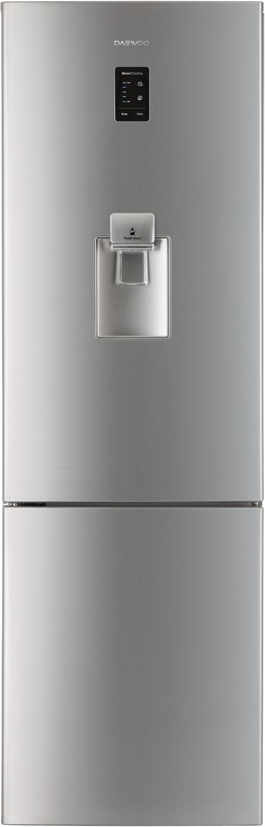 Daewoo RNV-3610EFH холодильникRNV-3610EFHОбщий объем 362л, объем хол.кам. 270, объем мороз. кам. 92, NO FROST, multi air flow, электронное управление, LED дисплей, LED освещение, диспенсер, R600a, энергоэффективность A+, высота 2.000, серебристый