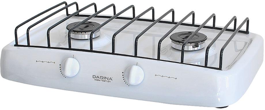Darina L NGM521 01 W плита газоваяLNGM52101WПлита газовая, настольная, 2 газ. конфорки с функц. Малое пламя, варочная поверхность: сталь с эмалир. покрытием, проволочн. решетка, настроена для работы на сжиженном газе, цвет: белый