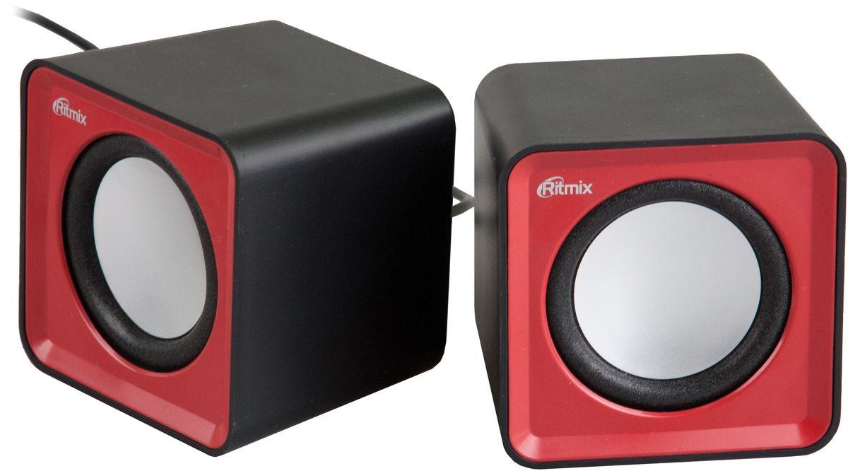 Ritmix SP-2020, Black Red акустическая система610005712.0, USB, jack 3.5 мм, 5 Вт (2*2,5), динамики 4,5 см, 90-20000 Гц, рег. громкости, 176 гр., 62*62*55.2 мм.