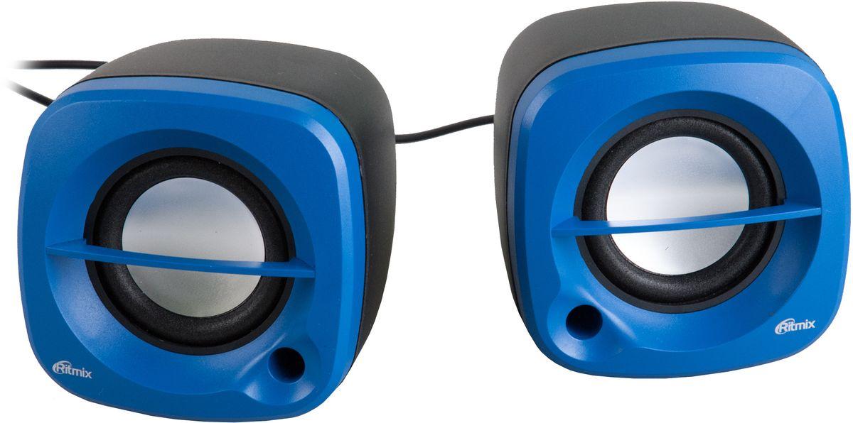 Ritmix SP-2030, Black Blue акустическая система610005722.0, USB, jack 3.5 мм, 5 Вт (2*2,5), динамики 4,5 см, 90-20000 Гц, рег. громкости, 287 гр., 81.3*79.7*79.7 мм.