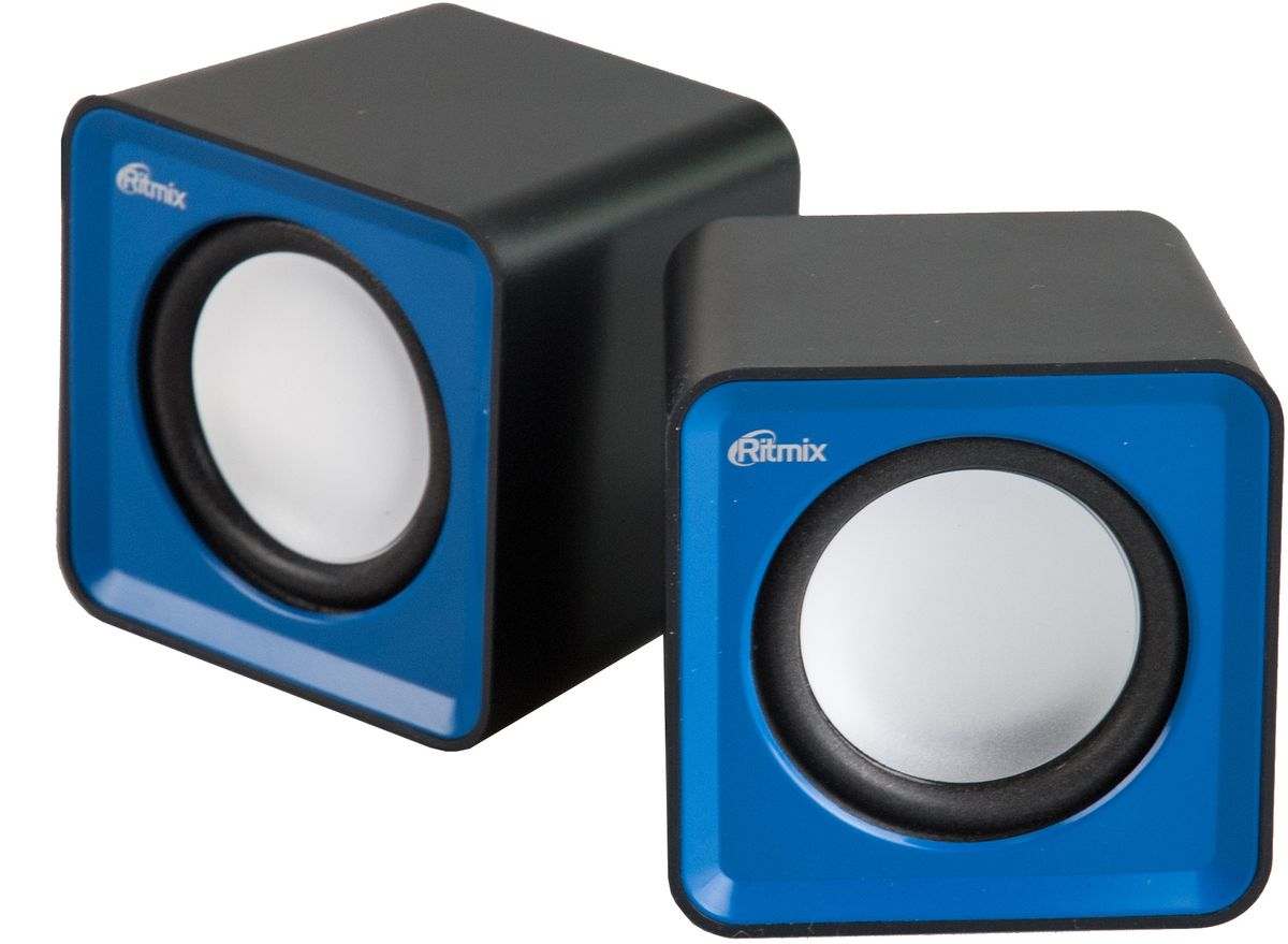 Ritmix SP-2020, Black Blue акустическая система61000574USB, jack 3.5 мм, 5 Вт (2*2,5), динамики 4,5 см, 90-20000 Гц, гер. громкости, 176 гр., 62*62*55.2 мм.