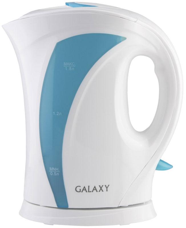 Galaxy GL 0103, White Blue чайник электрический4630003362483Техника для приготовления горячих напитков Galaxy отвечает всем современным требованиям надежности и безопасности. При ее производстве используются только высококачественные и экологически безопасные материалы, а также нагревательные элементы и контроллеры высокого класса надежности. Среди разнообразия моделей каждая будет служить вам долгие годы, наполняя ваш быт комфортом!Galaxy GL 0103 - надежный электрочайник мощностью 2200 Вт в корпусе из высококачественного пластика. Прибор оснащен открытым нагревательным элементом и позволяет вскипятить до 1,8 л воды.Данная модель оборудована светоиндикатором работы, съемным фильтром для воды и шкалой уровня воды. Для обеспечения безопасности при повседневном использовании предусмотрены функции: автовыключение при закипании и автовыключение при отсутствии воды.