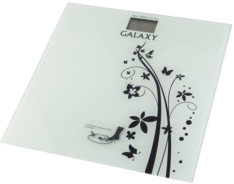 Galaxy GL 4800 весы напольные4650067303185Элемент питания CR2032, 1 шт. (в комплекте)Платформа из высокопрочного стеклаЖидкокристаллический дисплейМаксимально допустимый вес 180 кгЦена деления 100 гАвтоматическое отключениеИндикатор перегрузкиИндикация низкого заряда элемента питанияЕдиницы измерения: килограмм, фунт, стоунПрорезиненные ножки, для устойчивости и предотвращения скольжения