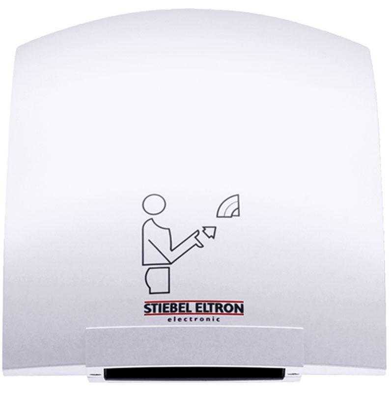Stiebel Eltron HTE 4 сушилка для рук30059Stiebel Eltron НТЕ 4 представляет собой сушилку настенного крепления с сенсорным инфракрасным датчиком включения, реагирующим на приближение рук, на определенное расстояние (6-12 сантиметров от выпускной решетки). Среднее время высушивания составляет 25 секунд. По истечении трех секунд с момента удаления рук из зоны сушки, прибор выключается. Специально спроектированная форма исключает размещение различных предметов на верхней части корпуса. Прибор разработан для установки и функционирования в многолюдных местах, производственных и бытовых помещениях, аэропортах, вокзалах, точках общественного питания. Конструкция аппарата имеет пластиковый держатель для установки патронов с ароматизаторами воздуха. Работа аппарата практически бесшумна, и достаточно экономична.Сушилка для рук Stiebel Eltron НТЕ 4 выполнена в эргономичном пластиковом корпусе, надежно защищающим устройство от внешних воздействий, и допускающим без риска устанавливать прибор там, где для других устройств высока вероятность повреждений. Белое эмалевое покрытие устойчиво к ультрафиолетовым лучам, легко очищаемо и позволит гармонично вписать прибор в интерьер помещений. Благодаря инфракрасным датчикам, позволяющим включать сушилку бесконтактным способом, механические нагрузки на решетки воздуховода и сам корпус практически исключены, что значительно продлевает срок эксплуатации.Во время работы, температура воздуха сушилки Stiebel Eltron НТЕ 4 на выходе достигает 90 градусов Цельсия. Для исключения перегрева, опасность которого может возникнуть в случае перекрытия выходных отверстий решетки, прибор оборудован температурным датчиком, автоматически отключающим нагревательный элемент. Встроенный вентилятор в свою очередь продолжает работу, охлаждая внутренние элементы прибора. Повторное включение режима нагрева происходит также в автоматическом режиме, спустя одну-две минуты.Надежные инфракрасные сенсоры прибора, рассчитанные на 10 000 000 включений, оборудованы внутре