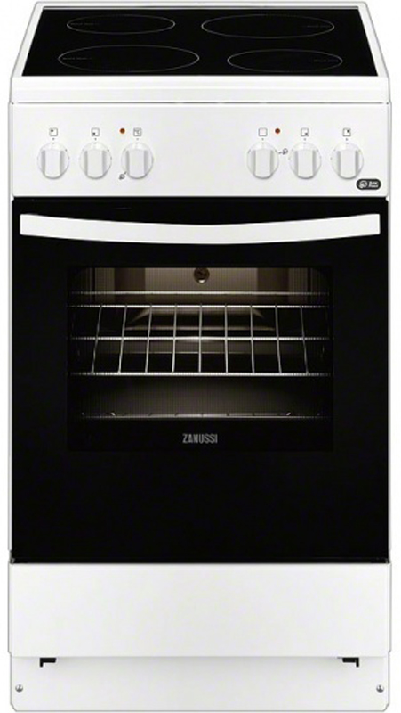 Zanussi ZCV 9540H1W плита электрическаяZCV9540H1W50x60 см, белого цвета, стеклокерамическая поверхность, электрическая духовка c грилем, отсек для хранения противней с металлической крышкой, термостат, освещение духовки