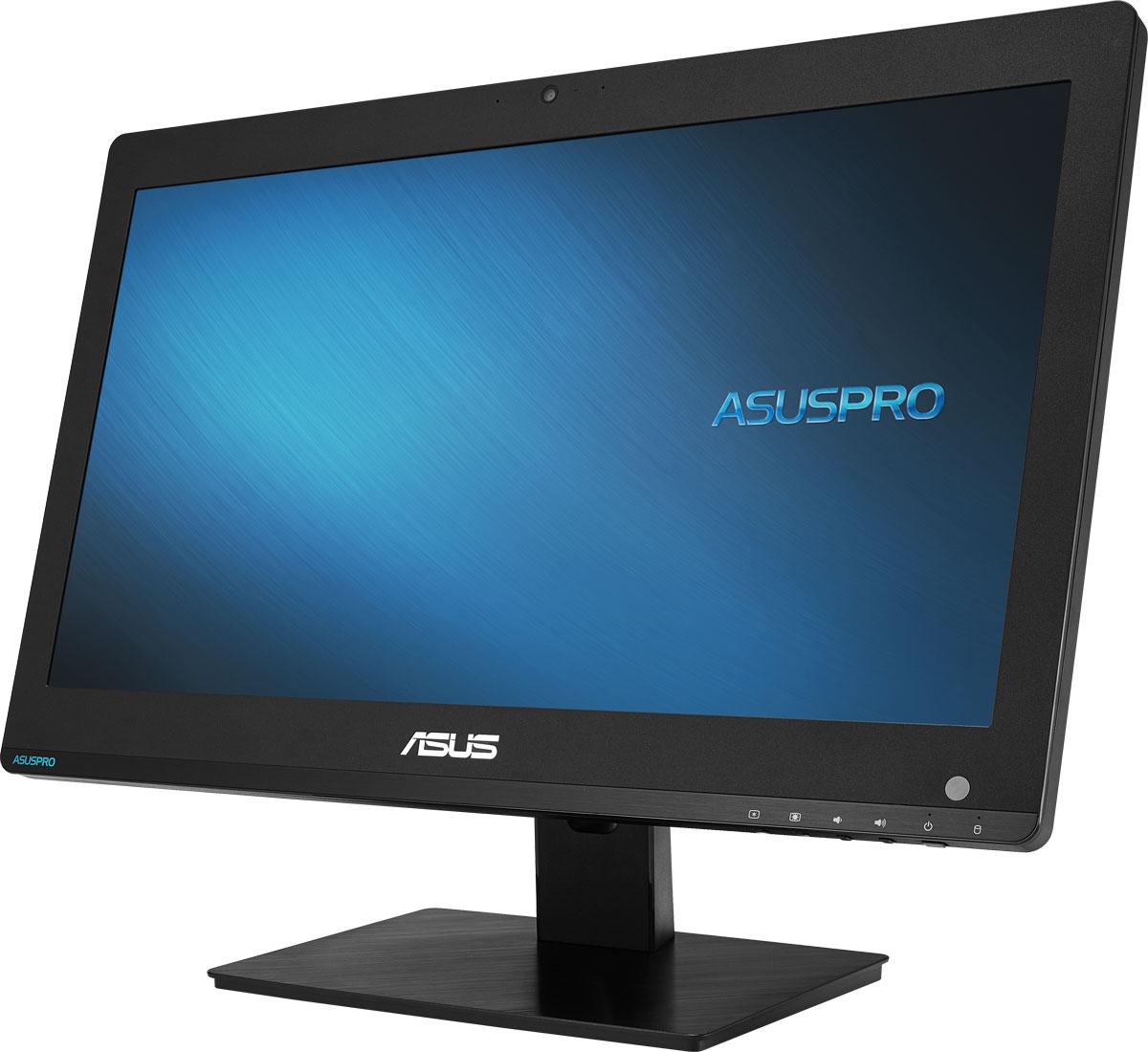 ASUS PRO A4321UTH-BE014D, Black моноблокA4321UTH-BE014DМоноблочный компьютер ASUS PRO A4321 оснащается 19,5-дюймовым дисплеем и выполнен в тонком корпусе черного цвета, дизайн которого удачно впишется в интерьер современного офиса. Высокая производительность сочетается в нем с гибкими средствами информационной безопасности. Для удобного администрирования системы предлагается программное обеспечение ASUS Business Manager.В аппаратную конфигурацию данного компьютера входит процессор Intel Celeron G3900, 4 ГБ оперативной памяти DDR4 и встроенная видеокарта. Современные компоненты обеспечивают хорошую скорость работы различных приложений и высокую энергоэффективность.ASUS A4321 оснащается 19,5-дюймовым дисплеем с мультисенсорным интерфейсом, которому можно найти массу применений, от POS-аппаратов до образовательных систем.Коммерческие компьютеры ASUS PRO наделены множеством интерфейсов, и модель A4321 не является исключением. Она предлагает порты COM и USB 3.1, видеовыходы HDMI и VGA, а также слоты для карт памяти и смарт-карт.Для удобства технического обслуживания задняя панель компьютера снимается без использования инструментов. Таким образом, можно легко провести замену оперативной памяти или жесткого диска.Точные характеристики зависят от модификации.Моноблок сертифицирован EAC и имеет русифицированную клавиатуру и Руководство пользователя