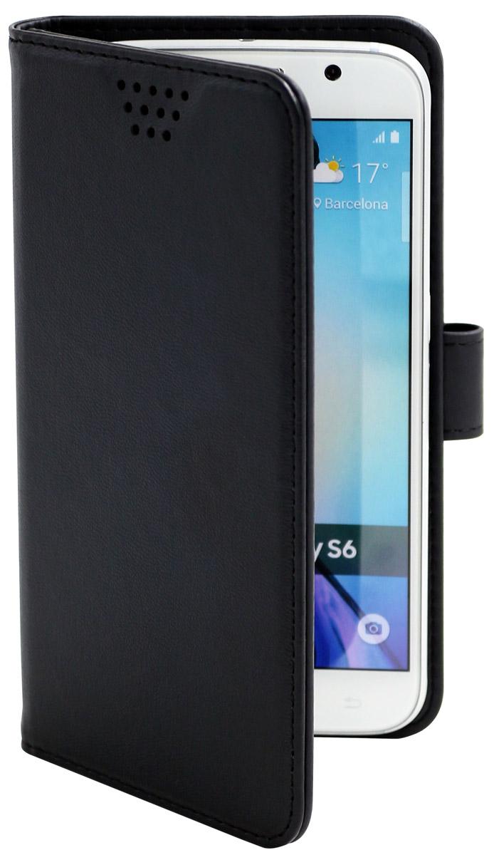 Muvit универсальный чехол для смартфонов 5, BlackMUCUN0280Универсальный чехол-книжка Muvit предназначен для защиты корпуса и экрана смартфона диагональю 5 от механических повреждений и царапин в процессе эксплуатации. Имеется свободный доступ ко всем разъемам и кнопкам устройства. Надежная фиксирующая смартфон внутренняя поверхность. Подходит для смартфонов с любым расположением камеры. Имеет специальный карман для пластиковых карт. На внутренней стороне чехла есть специальная площадка, которая позволяет вращать ваш телефон на 360°.