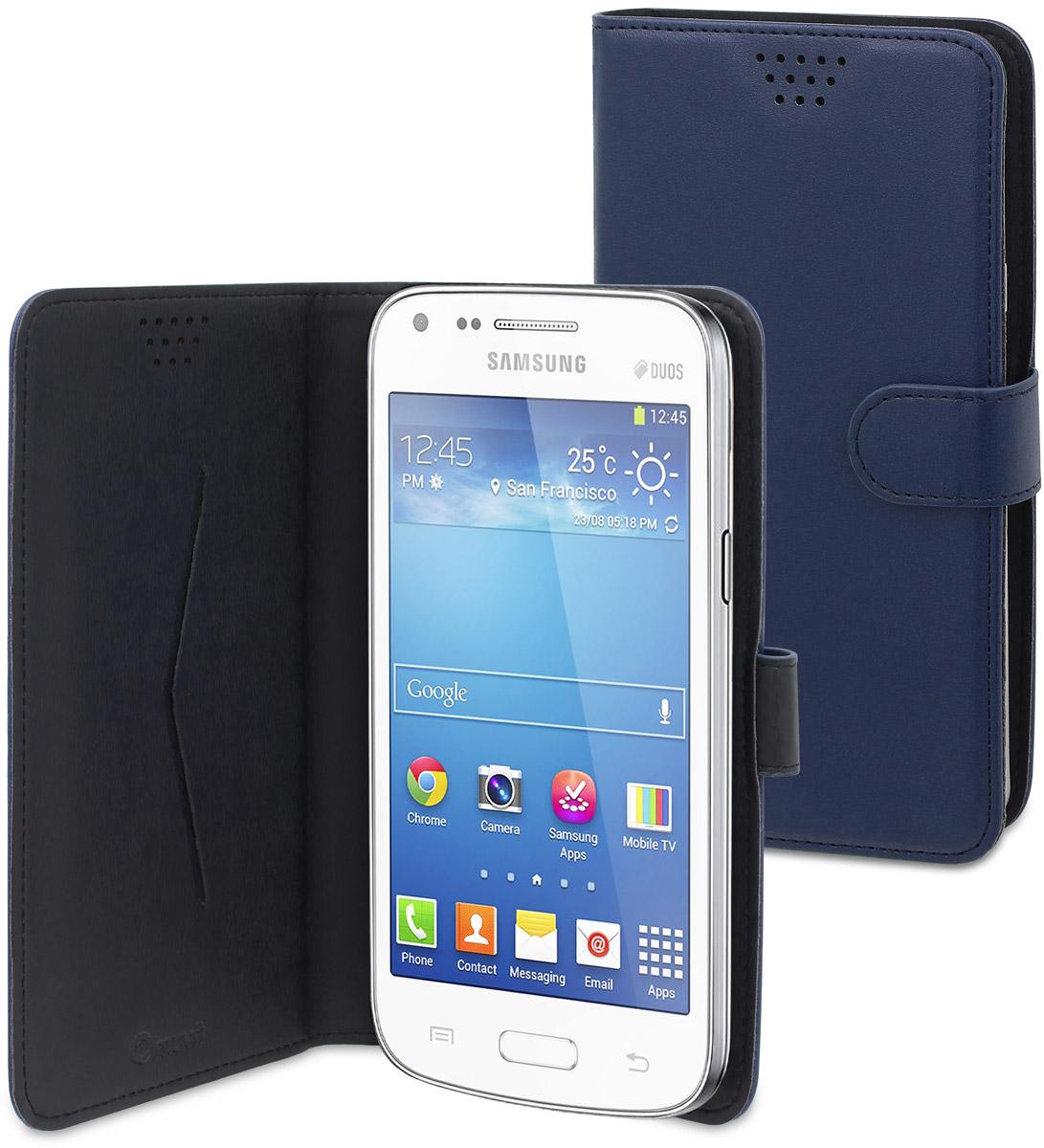 Muvit универсальный чехол для смартфонов 4, BlueMUCUN0277Универсальный чехол-книжка Muvit предназначен для защиты корпуса и экрана смартфона диагональю 4 от механических повреждений и царапин в процессе эксплуатации. Имеется свободный доступ ко всем разъемам и кнопкам устройства. Надежная фиксирующая смартфон внутренняя поверхность. Подходит для смартфонов с любым расположением камеры. Имеет специальный карман для пластиковых карт. На внутренней стороне чехла есть специальная площадка, которая позволяет вращать ваш телефон на 360°.
