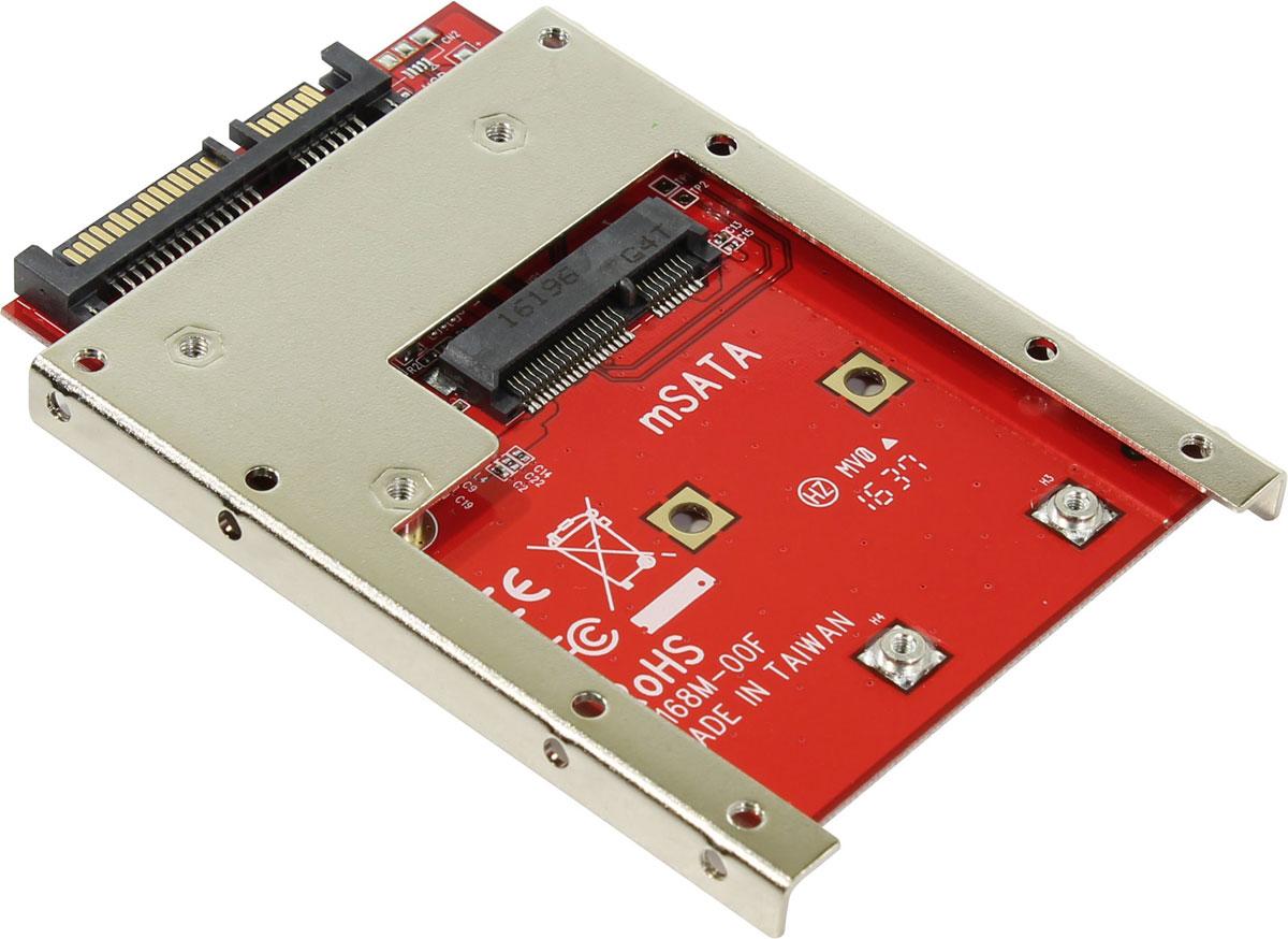 SmartBuy ST-168M-7 переходник-конвертер для mSATA SSD в 7mm 2.5 SATAST-168M-7SmartBuy ST-168M-7 - удобный переходник-конвертер с возможностью перехода с mSATA в SATA, который увеличивает габариты малого твердотельного накопителя, применяющегося в мобильных устройствах, до размеров диска 2.5. При изготовлении такого адаптера применены металлические и стеклотекстолитовые элементы.