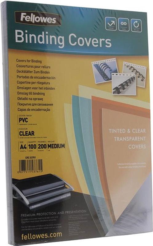 Fellowes Transparent А4 обложка для переплета, 200 мкм (100 шт)FS-53761Обложка Fellowes Transparent предназначена для оформления документов. Обложка выполнена из прозрачного ПВХ 200 мкм. Идеально подходит как для переплета на пластиковую, так и на металлическую пружины.