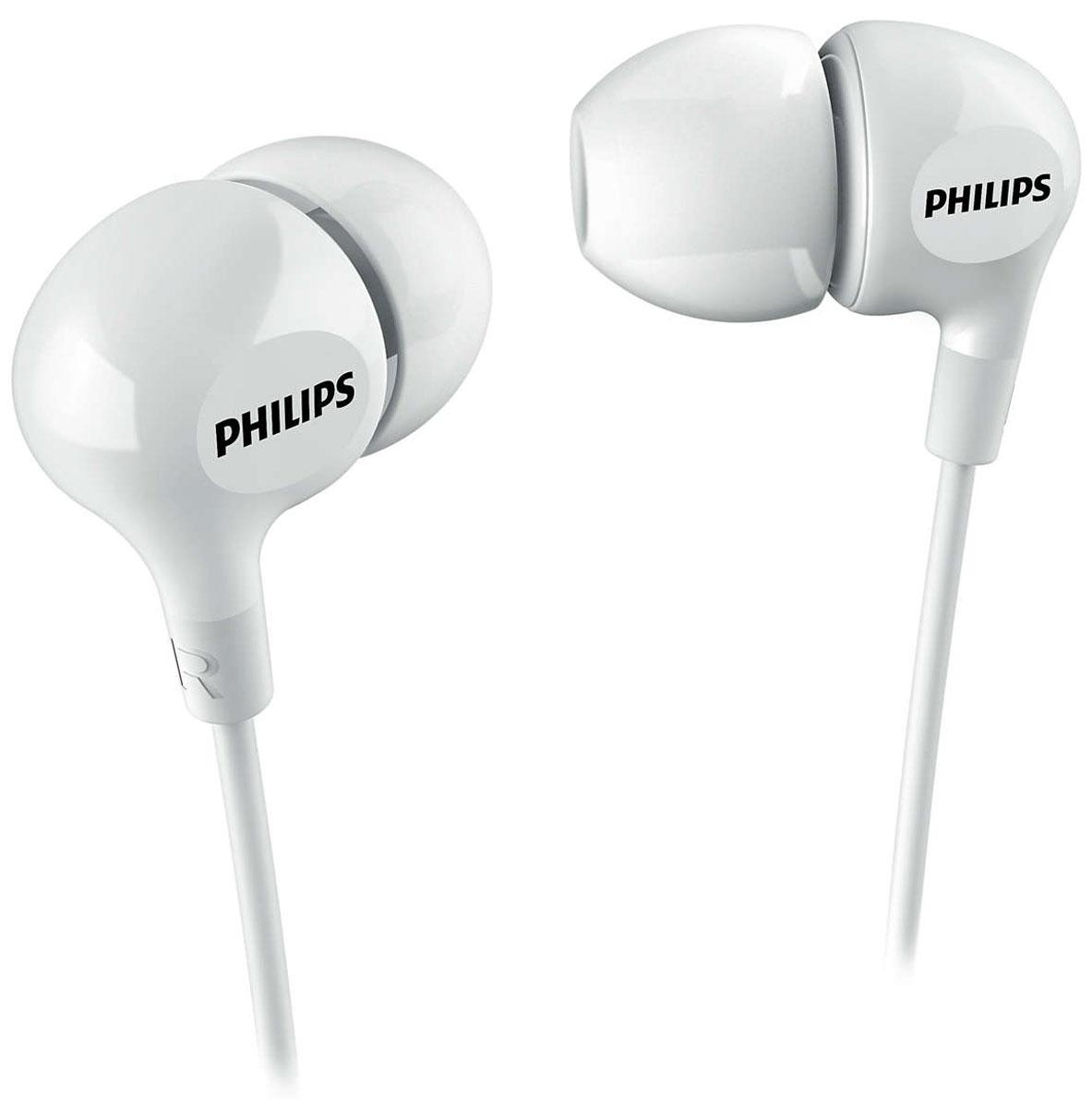 Philips SHE3550, White наушникиSHE3550WT/00Компактные наушники-вкладыши Philips SHE3550 с усиленным басом. Эргономичная овальная звуковая трубка обеспечивает максимально комфортную посадку, подстраиваясь под форму уха. В комплект входят насадки 3 размеров, чтобы вы могли выбрать для себя подходящий вариант.Мягкий резиновый сгиб предотвращает повреждение контактов при многократном сгибании кабеля и продлевает срок службы наушников.