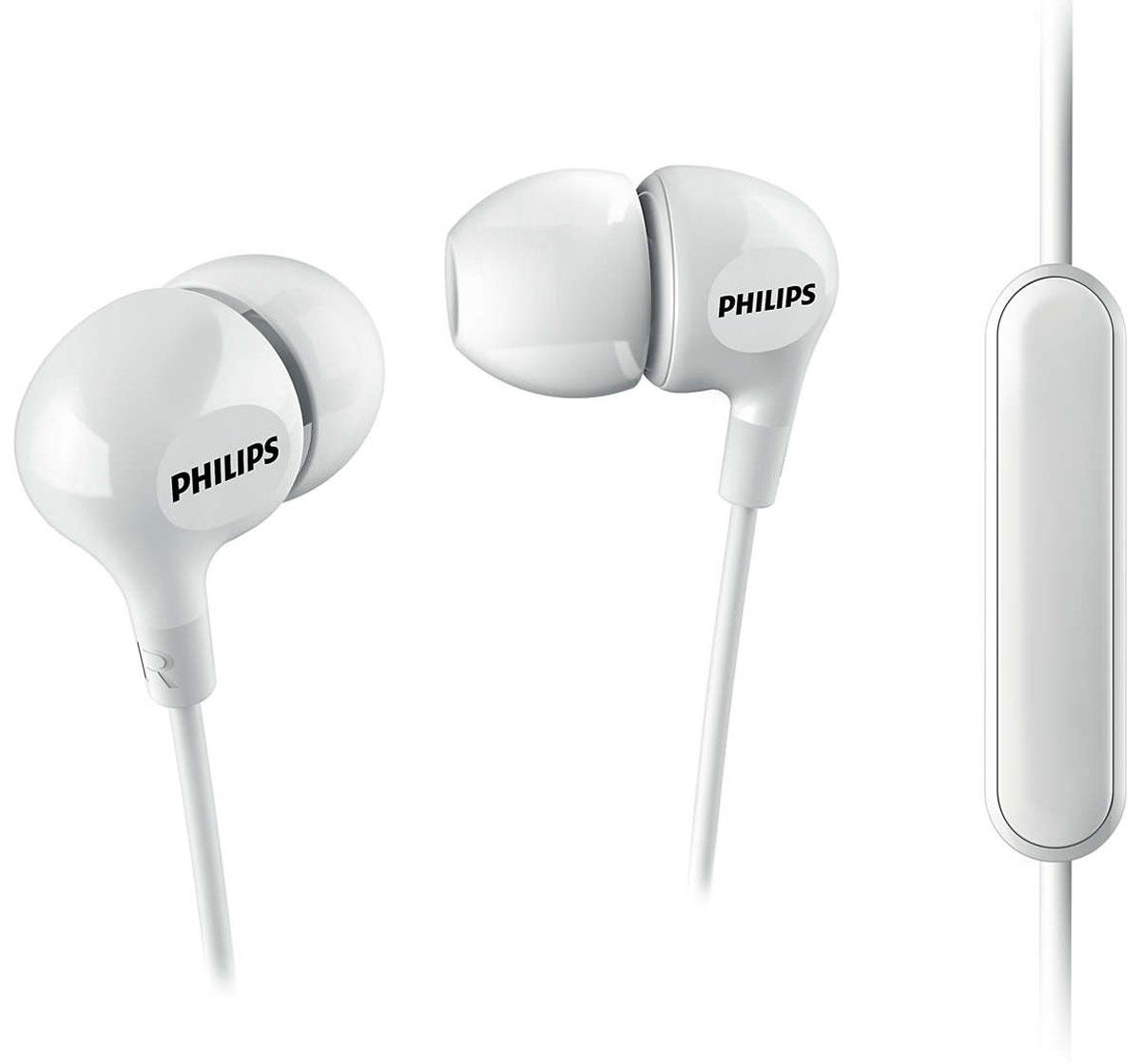 Philips SHE3555, White наушникиSHE3555WT/00Компактные наушники-вкладыши Philips SHE3555 с усиленным басом. Эргономичная овальная звуковая трубка обеспечивает максимально комфортную посадку, подстраиваясь под форму уха. Благодаря встроенному микрофону можно легко переключаться между режимами разговора и прослушивания музыки, чтобы всегда оставаться на связи. В комплект входят насадки 3 размеров, чтобы вы могли выбрать для себя подходящий вариант.Мягкий резиновый сгиб предотвращает повреждение контактов при многократном сгибании кабеля и продлевает срок службы наушников.