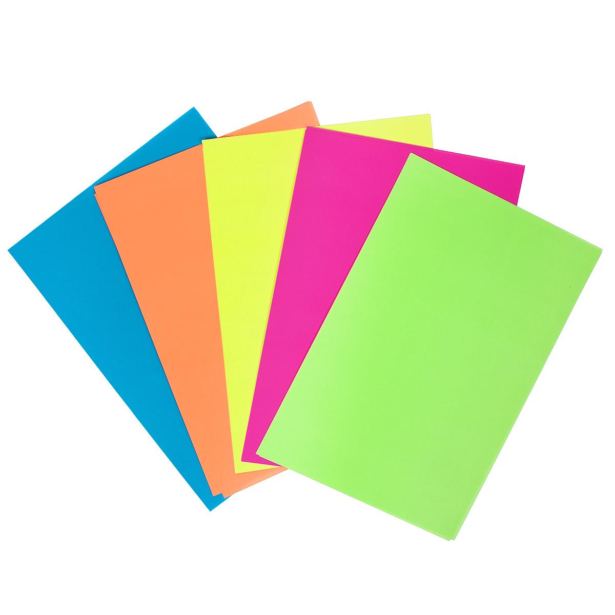 Набор цветного флуоресцентного картона позволит создавать всевозможные аппликации и поделки. Набор состоит из 10 листов желтого, оранжевого, розового, синего и зеленого цветов. Благодаря нанесению на листы особого состава, в темное время суток поделки из флуоресцентного картона излучают легкое сияние, что смотрится особенно нарядно. На обратной стороне папки приводится инструкции с фотографиями и рисунками по изготовлению поделок. Создание поделок из цветного картона позволяет ребенку развивать творческие способности, кроме того, это увлекательный досуг.