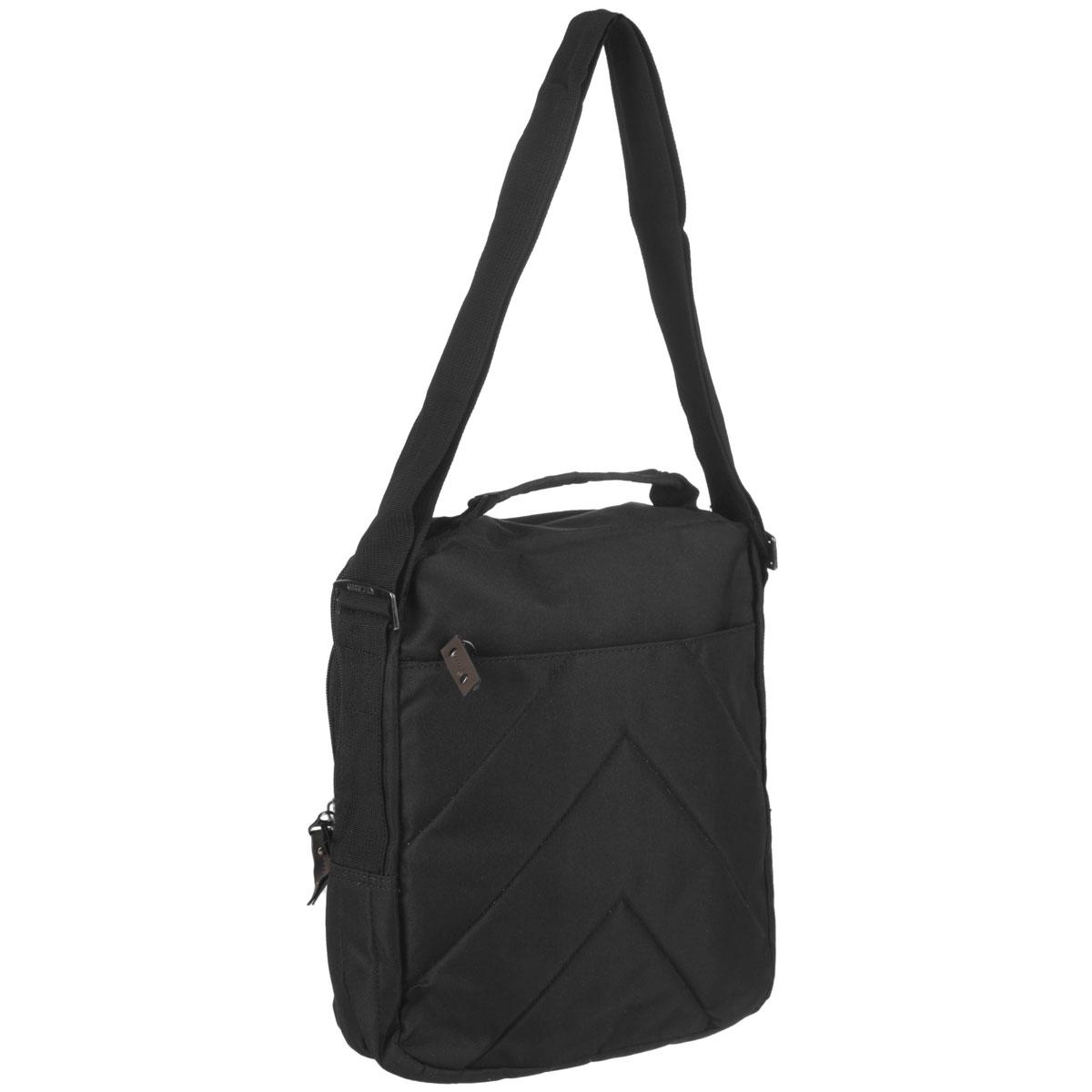 Молодежная сумка с одним отделением на молнии,с передними,задним и внутренним карманами.В переднем кармане имеется карман-органайзер.Сумка имеет укрепленное дно,ручку для переноски и регулируемый ремень.