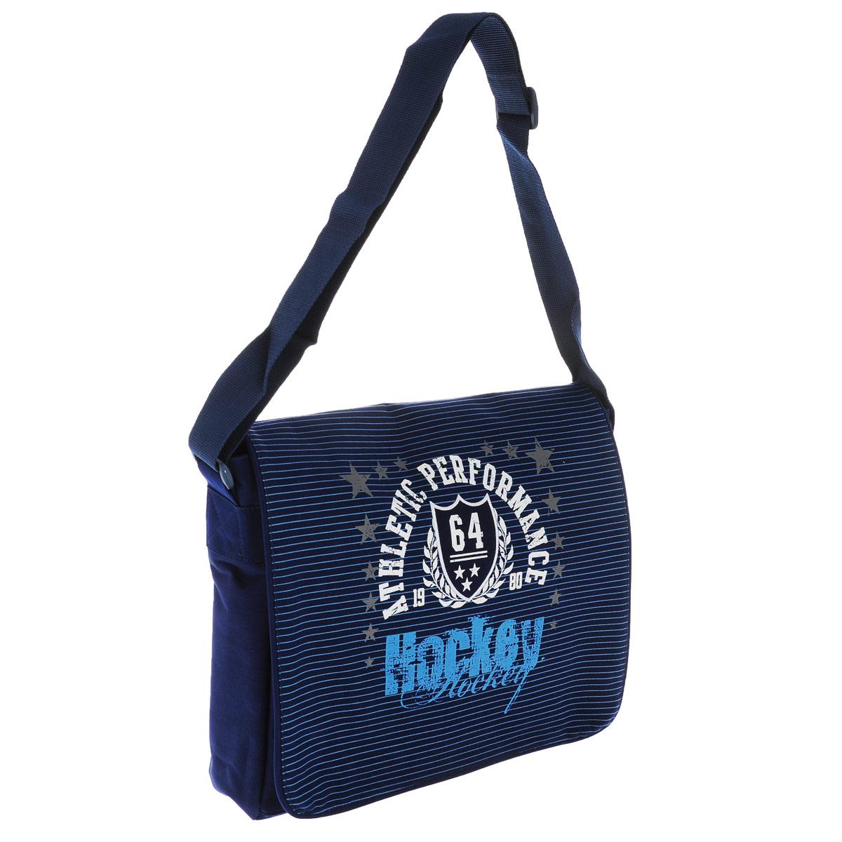 Практичная сумка Спорт от Proff - наплечная подростковая, конструктивно грамотно оборудована, с отстегивающимся двусторонним клапаном.