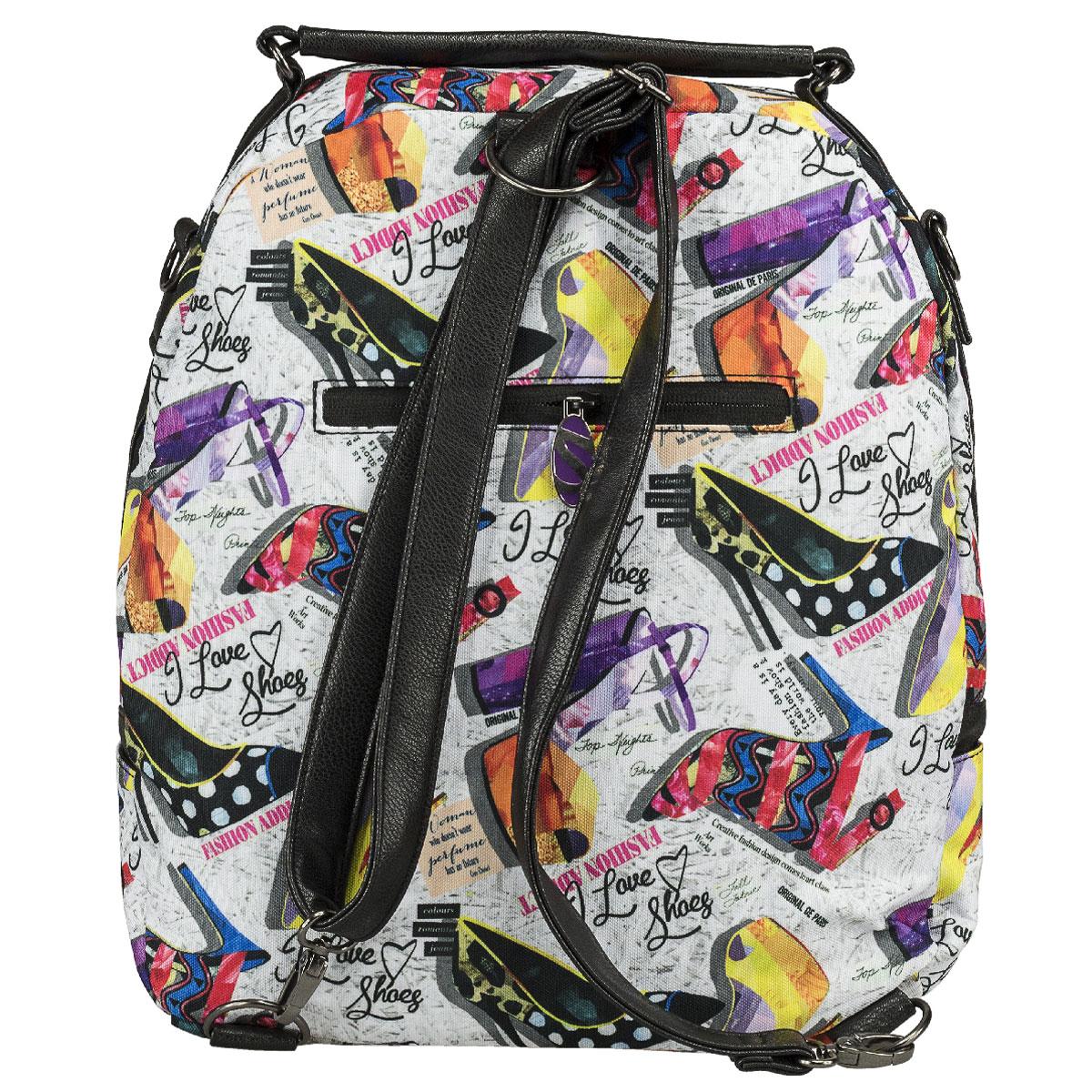 Молодежная сумка-рюкзак Seventeen выполнена из высококачественных материалов и оформлена красочным принтом.Модель содержит одно вместительное отделение на застежке-молнии с двумя бегунками. Внутри отделения находятся прорезной карман на молнии и два открытых кармашка. Фронтальный карман с клапаном на магнитах. Задняя стенка сумки-рюкзака оснащена прорезным карманом на молнии. По бокам изделия находятся открытые карманы. Сумка оснащена удобной ручкой для переноски в руке, а также плечевым ремнем, с помощью которого сумку-рюкзак можно носить на плече и как рюкзак.Такую сумку-рюкзак можно использовать для повседневных прогулок, отдыха и спорта, а также как элемент вашего имиджа.Рекомендуемый возраст: от 12 лет.