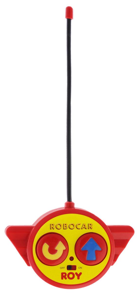 """Радиоуправляемая игрушка со световыми эффектами """"Рой"""" привлечет внимание вашего ребенка и не позволит ему скучать. Она выполнена из прочного пластика голубого и зеленого цветов в виде пожарной машинки Роя - персонажа мультфильма """"Робокар Поли и его друзья"""". Игрушка может двигаться вперед, поворачивать направо и разворачиваться. Во время движения у нее светятся фары. Колеса машинки дополнены резиновыми вставками, которые исключают скольжение игрушки на гладкой поверхности. К машинке прилагается пульт с инфракрасным дистанционным управлением, на котором имеются две крупные кнопки выбора направления движения машинки и кнопка включения. В комплект входит инструкция по эксплуатации на русском языке. Такая замечательная игрушка подарит вашему малышу массу положительных эмоций! Для работы машинки необходимы 3 батареи напряжением 1,5V типа АА, для работы пульта управления необходима 1 батарея напряжением 9V типа 6LR61 (не входят в комплект)."""