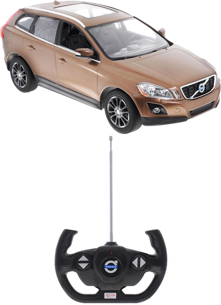 """Радиоуправляемая модель Rastar """"Volvo XC60"""" станет отличным подарком любому мальчику! Все дети хотят иметь в наборе своих игрушек ослепительные, невероятные и модные автомобили на радиоуправлении. Тем более, если это автомобиль известной марки с проработкой всех деталей, удивляющий приятным качеством и видом. Одной из таких моделей является автомобиль на радиоуправлении Rastar """"Volvo XC60"""". Это точная копия настоящего авто в масштабе 1:14. Авто обладает неповторимым провокационным стилем и спортивным характером. Потрясающая маневренность, динамика и покладистость - отличительные качества этой модели. Возможные движения: вперед, назад, вправо, влево, остановка. При движении загораются фары и стоп-сигналы. Машина работает от 5 батареек типа АА напряжением 1,5V, пульт работает от батарейки 9V типа """"Крона"""" (не входят в комплект)."""