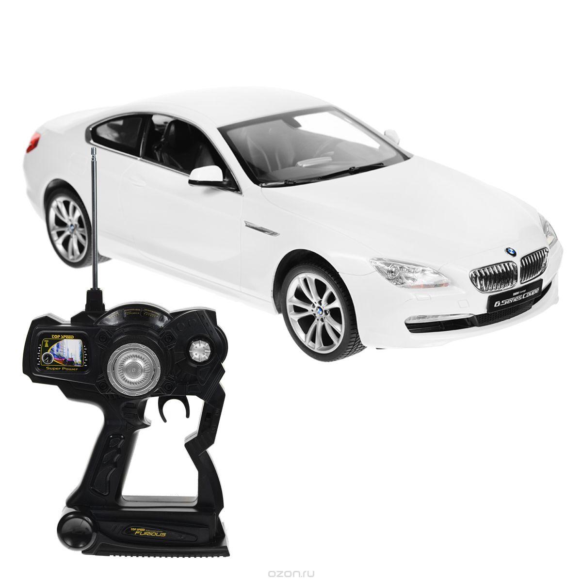 """Радиоуправляемая модель Rastar """"BMW 6S"""" со световыми эффектами, являющаяся точной копией настоящего автомобиля, - отличный подарок не только ребенку, но и взрослому. Автомобиль изготовлен из современных прочных материалов и обладает высокой стабильностью движения, что позволяет полностью контролировать его процесс, управляя без суеты и страха сломать игрушку. Основные направления движения автомобиля: вперед-назад-влево-вправо. Движение вперед и назад сопровождается сигнальными световыми эффектами фар. Прорезиненные колеса обеспечивают превосходное сцепление с любой поверхностью пола. Автомобиль работает от аккумулятора Ni-Cd AA 600 mAh 9.6V, заряжающегося от электрической сети. В комплект входят автомобиль, пульт управления, аккумулятор, зарядное устройство и инструкция на русском языке. Автомобиль работает от аккумулятора Ni-Cd AA 600 mAh 9.6V (входит в комплект), пульт управления - от 1 батарейки 9V 6F22 (не входит в комплект)."""
