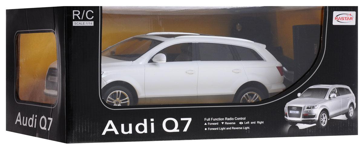 """Радиоуправляемая модель Rastar """"Audi Q7"""" обязательно привлечет внимание вашего ребенка! Все дети хотят иметь в наборе своих игрушек ослепительные, невероятные и модные автомобили на радиоуправлении. Тем более, если это автомобиль известной марки с проработкой всех деталей, удивляющий приятным качеством и видом. Одной из таких моделей является автомобиль на радиоуправлении Rastar """"Audi Q7"""". Это точная копия настоящего авто в масштабе 1:14. Автомобиль обладает неповторимым провокационным стилем и спортивным характером. Потрясающая маневренность, динамика и покладистость - отличительные качества этой модели. Возможные движения: вперед, назад, вправо, влево, остановка. При движении загораются фары и стоп- сигналы. Для работы машины необходимо купить 5 батареек типа АА (не входят в комплект). Для работы пульта управления необходимо купить батарейку типа """"Крона"""" (не входит в комплект)."""