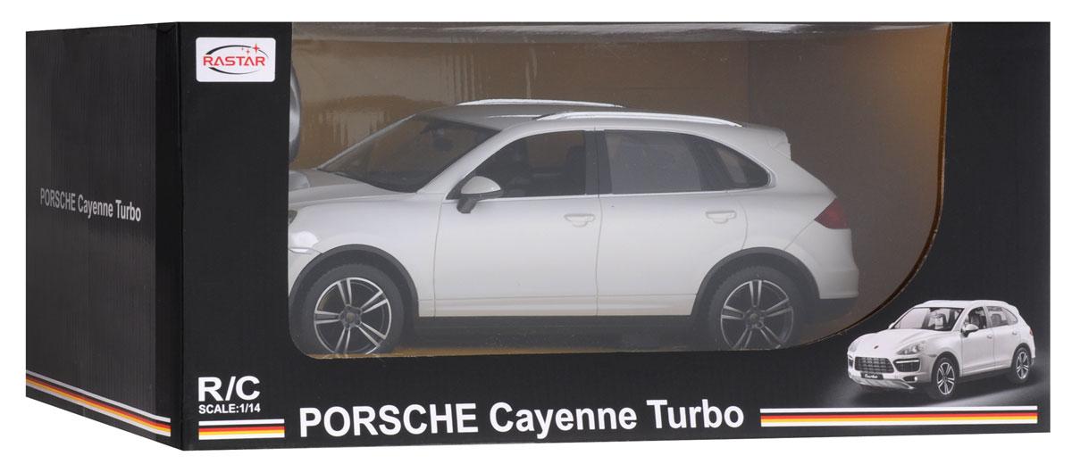 """Радиоуправляемая модель """"Porsche Cayenne Turbo"""" со световыми эффектами, являющаяся точной копией настоящего автомобиля - отличный подарок не только ребенку, но и взрослому. Управление авто происходит с помощью пульта. Машина двигается вперед и назад, поворачивает направо, налево и останавливается. Имеются световые эффекты (загораются фары и стоп-сигналы). Колеса игрушки прорезинены и обеспечивают плавный ход, машинка не портит напольное покрытие. Радиоуправляемые игрушки способствуют развитию координации движений, моторики и ловкости. Ваш ребенок часами будет играть с моделью, придумывая различные истории и устраивая соревнования. Порадуйте его таким замечательным подарком! Машина работает от 5 батареек напряжением 1,5V типа АА (не входят в комплект). Пульт управления работает от батарейки 9V типа """"Крона"""" (не входит в комплект)."""