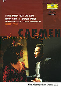 James Levine's conducting of this work is magnificent. You can just see the passion that he brings forth for this opera. He is paired with a very talented group of singers in the principal roles. Singing the mysterious Carmen is mezzo Agnes Baltsa. Now, at first glance, Baltsa's age really got to me. She looks considerably older than her part should be. However, there's something about her performance that just seduces. It's a combination of the nuances in her stage movement, as well as the versatile singing range she has to offer-especially in her 1st act Seguidilla. Jose Carerras (of
