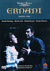 Ernani, Verdi's fifth opera (1844) is melodic from beginning to end. Based on Victor Hugo's play, whose tumultuous reception in 1830 marked a decisive turning point in the development of romantic drama, this violent and sombre story of frustrated passion, honour fatally impugned, and ambition thwarted and rewarded, is set by the young composer to a succession of irresistible tunes, unsurpassed even in his mature works. The opera's dramatic impetus is unstoppable. For Luca Ronconi's production, which opened the 1982/3 season at La Scala, Milan, four of the world's   4 leading Verdi singers were engaged: Placido Domingo as the bandit. Ernani; Renato Bruson as the scheming, dangerously suave King Charles of Spain; Nicolai Ghiaurov as the proud Spanish Grandee whose implacable sense of honour propels the action to its tragic conclusion; and Mirella Freni as the gentle heroine desired by these three rivals. Act I, Scene 1 - A Camp In The Mountains Of AragonAct I,  Scene 2 - Elvira's Apartment In Silva's CastleAct II - A Magnificant Hall In The CastleAct III - Charlemagne's Tomb At Aix-La-ChapelleAct IV - Ernani's Ducal Castle Near Saragossa