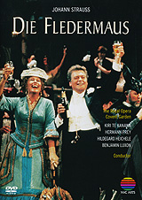 In this performance of Die Fledermaus, which The Daily Telegraph hailed as 'a summit of escapism', an international array of talent combines to perform one of Covent Garden's most glittering productions. Kiri Те Kanawa leads the comic cast with her celebrated portrayal of Rosalinde, Hermann Prey as Eisenstein, Hildegard Heichele as Adele and Benjamin Luxon as Falke. There are some surprise celebrity guests at Prince Orlofsky's special gala performance party including Hinge and Bracket, Charles Aznavour and Merle Park and Wayne Eagling in Sir Frederick Ashtnn's specially choreographed pas de deux. The stage designs by Julia Trevelyan Oman recreate all the style and opulence of the Viennese Belle Epogue in this highly-acclaimed New Year's Eve performance from the Royal Opera House, Covent Garden. Placido Domingo makes an inimitably stylish British conducting debut: 'Under him... Strauss's zestful, tuneful comedy fizzes along like musical champagne'- DAILY MAIL.   Act I-III