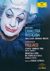 The great Italian stage and screen director Franco Zeffirelli made these widely acclaimed films, both starring Placido Domingo, with Georges Pretre conducting the Orchestra and Chorus of La Scala. Pagliacci, which co-stars the great singing actress Teresa Stratas, brought Zeffirelli the coveted Emmy as Best Director in the category of Classical Music Programming. Cavalleria was filmed on location in Sicily, which adds immeasurably to the power and atmosphere of this timeless story of love, honour, justice, and violence. Cavalleria rusticana: Santuzza - Elena ObraztsovaTuriddu - Placido DomingoLucia - Fedora BarbieriAlfio - Renato BrusonLola - Axelle Gall Pagliacci: Canio - Placido DomingoNedda - Teresa StratasTonio - Juan PonsPeppe         - Florindo AndreolliSilvio - Alberto RinaldiUn Contadino - Alfredo PistoneUn Altro Contadino - Ivan del Manto