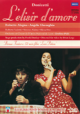 The newly-wed opera stars Angela Gheorghiu and Roberto Alagna were perfectly cast in Frank Dunlop's witty production, set in the 1920s, of Donizetti's L'elisir d'amore, a beguiling mixture of sharp comedy and heartfelt pathos.  Bonus Feature -