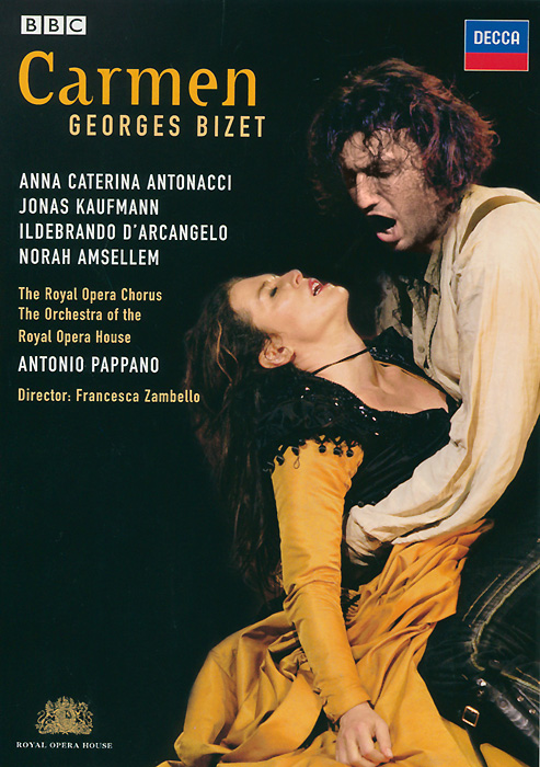 With Anna Caterina Antonacci and Jonas Kaufmann bringing rare erotic intensity to the drama of Carmen and Don Jose, this new Royal Opera production is a darkly passionate reading of one of the world's favourite operas. Under the baton of Music Director Antonio Pappano. Bizet's irresistible score drives the tragedy forward - powering a landmark staging of a musical masterpiece.  Carmen - Anna Caterina Antonacci Don Jose - Jonas Kaufmann Escamillo - Ildebrando D'arcangelo Micaela - Norah Amsellem