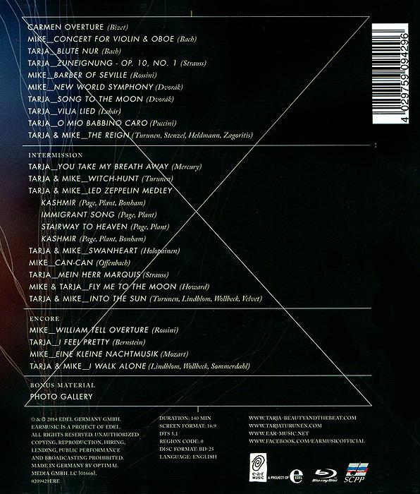 Tarja Turunen& Mike Terrana.  Beauty& The Beat (Blu-ray) Edel Germany GMBH