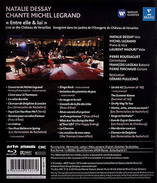 Natalie Dessay.  Michel Legrand.  Entre Elle& Lui.  Live At The Chateau De Versailles (Blu-ray) Warner Music,Erato Disques